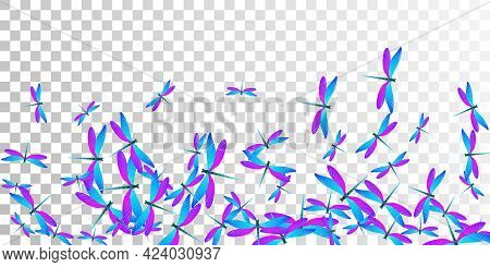 Exotic Blue Purple Dragonfly Cartoon Vector Background. Spring Ornate Damselflies. Simple Dragonfly