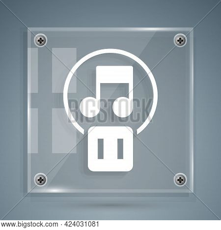 White Pause Button Icon Isolated On Grey Background. Square Glass Panels. Vector