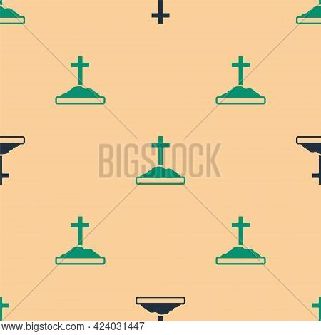 Green And Black Grave With Cross Icon Isolated Seamless Pattern On Beige Background. Vector