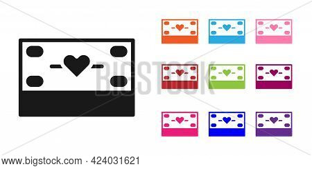 Black Donation And Charity Icon Isolated On White Background. Donate Money And Charity Concept. Set