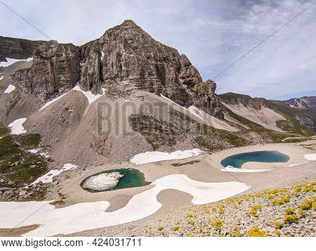 Mountain Landscape With High Altitude Lake (pilato Lake) In The National Park Of The Sibillini Mount