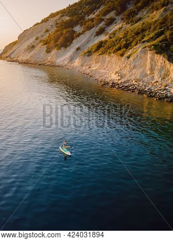 May 27, 2021. Anapa, Russia. Stand Up Paddle Boarder At Sea With Amazing Landscape. Aerial View