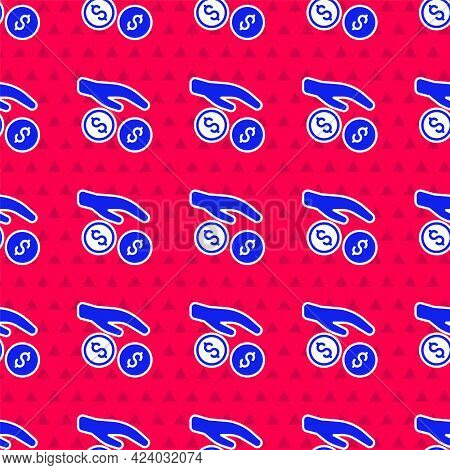 Blue Donation And Charity Icon Isolated Seamless Pattern On Red Background. Donate Money And Charity