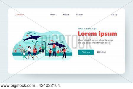 Happy Kids Walking In Oceanarium Flat Vector Illustration. Cartoon Parents And Children Looking At U