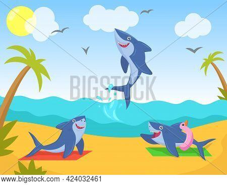 Funny Sharks Characters Relaxing On Beach. Cartoon Marine Animals Sunbathing, Swimming In Sea And Ha