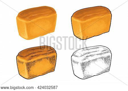 Loaf Of Bread. Vector Color Realistic Illustration