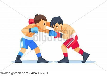 Boxing Among Teen. Boys Boxing, Kickboxing Children. Children Fight With These Adult Emotions. Popul