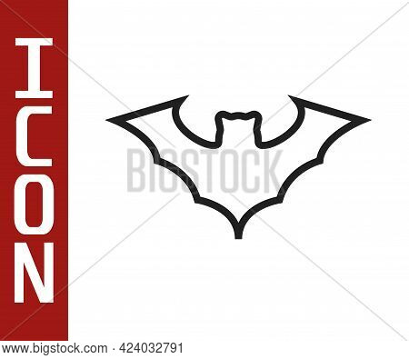 Black Line Flying Bat Icon Isolated On White Background. Vector