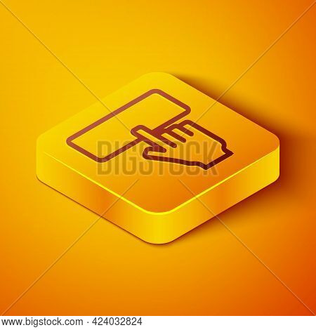 Isometric Line Computer Keyboard Icon Isolated On Orange Background. Pc Component Sign. Yellow Squar