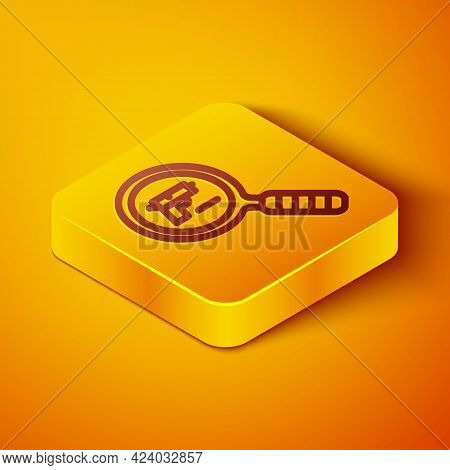Isometric Line Pistol Or Gun Search Icon Isolated On Orange Background. Police Or Military Handgun.