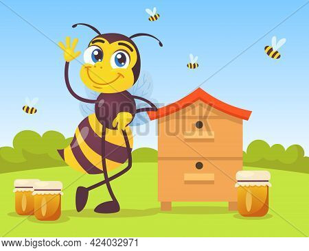 Cute Bee Character Leaning On Wooden Beehive In Countryside. Huge Black And Yellow Insect Waving, Ja