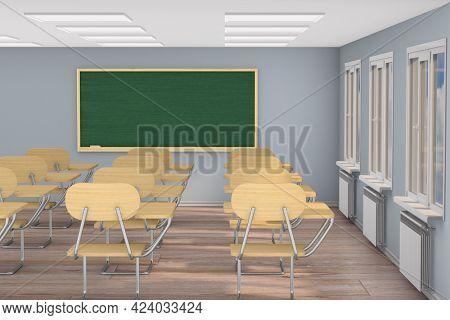 Interior empty school classroom. 3d illustration. Back to school