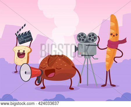 Bread Characters Filming Movie On Set Together. Toast Holding Clapperboard, Baguette With Video Came