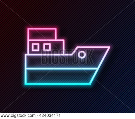 Glowing Neon Line Ship Line Path Of Ship Sea Route With Start Point Gps And Black Line Icon Isolated