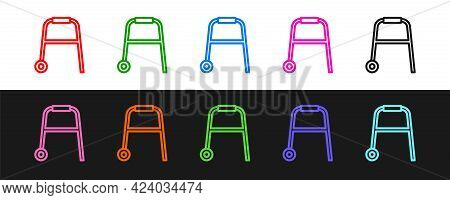 Set Line Walker For Disabled Person Icon Isolated On Black And White Background. Vector