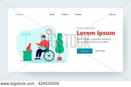 Friendly Disabled Guy Keeping Cats. Person On Wheelchair, Pets, Home Flat Vector Illustration. Disab