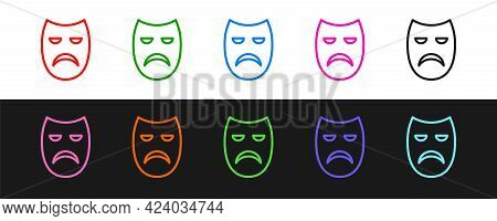 Set Line Drama Theatrical Mask Icon Isolated On Black And White Background. Vector