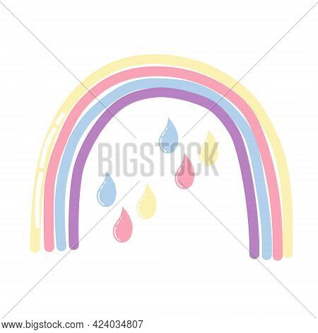 Fairytale Rainbow With Multicolored Raindrops In A Flat Style On A White Background. Children's Prin
