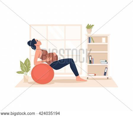 A Pregnant Woman Performs Gymnastics. Taking Care Of The Body And Health. Happy Pregnancy. Future Pa