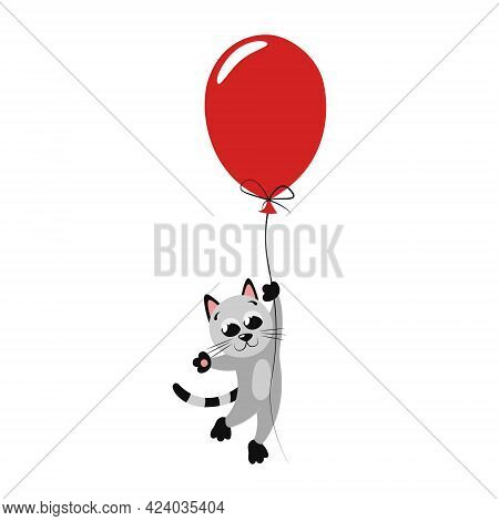 Cute Happy Little Cat Flying On A Red Balloon. Beautiful Bright Flat Illustration For Nursery Decor.