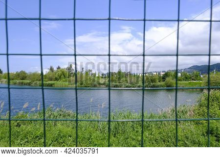 Nature In The Open Air Behind Bars Or Nets. Prison, Slavery, Cage, Cage On The Background Of Nature,