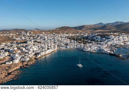 Paros Island, Naousa Cityscape Aerial Drone View. Greece, Cyclades.