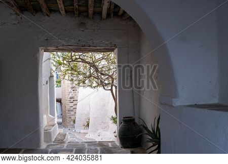 Folegandros Island, Greece, Cyclades. Traditional Whitewashed Buildings And Narrow Streets, Kastro