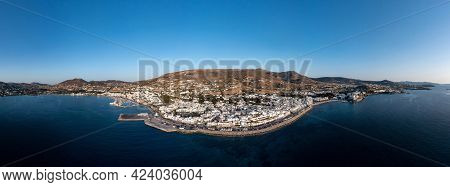 Paros Island, Parikia Cityscape Panorama Aerial Drone View. Greece,  Cyclades.