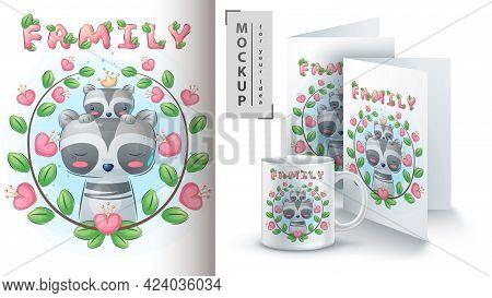 Raccoon Kid - Poster And Merchandising. Vector Eps 10