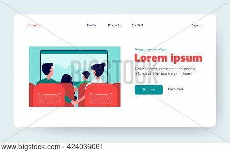 Back View Of Couples Sitting In Movie Theater. Film, Cinema, Love Flat Vector Illustration. Entertai