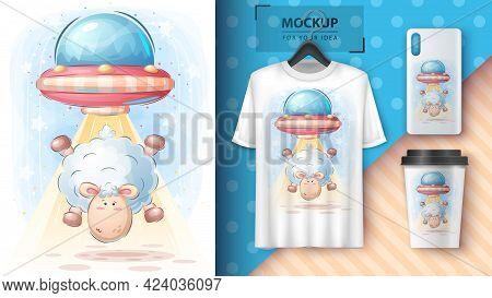 Lamb Ufo - Poster And Merchandising. Vector Eps 10