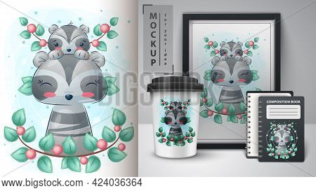 Cute Raccoon Poster And Merchandising. Vector Eps 10