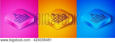 Isometric Line Church Building Icon Isolated On Pink And Orange, Blue Background. Christian Church.