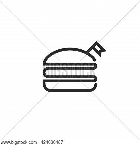 Burger Logo With Flag, Black And White Fast Food Thin Line Illustration, Minimal Monoline Style.