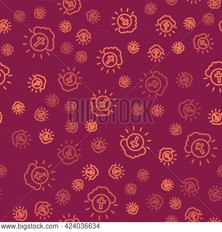 Brown Line Religious Cross In The Circle Icon Isolated Seamless Pattern On Red Background. Love Of G
