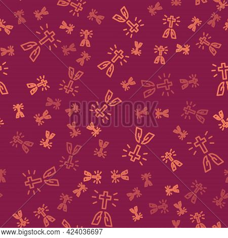 Brown Line Hands In Praying Position Icon Isolated Seamless Pattern On Red Background. Prayer To God