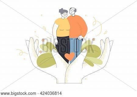 Giant Hands Holding Elderly Couple. Senior Man And Woman, Medical Care For Old Patients Flat Vector
