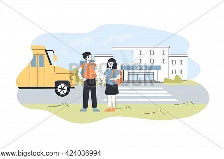 Children Standing Outside School Yard. Cartoon Boy And Girl Near School Entrance, Bus And Road In Ba