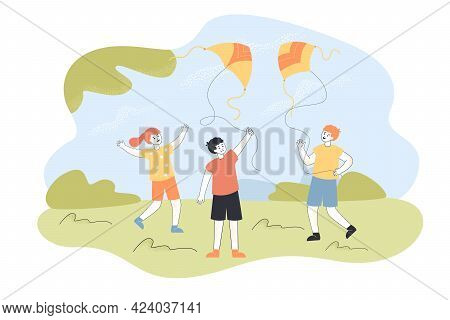 Kids Flying Kites Outside. Boys Playing With Air Or Wind Toys On String On Walk Flat Vector Illustra