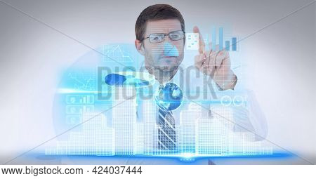 Digital interface with data processing against senior businessman touching invisible screen. global business and technology concept