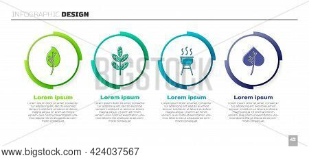 Set Leaf Or Leaves, Leaf Or Leaves, Barbecue Grill And Leaf Or Leaves. Business Infographic Template