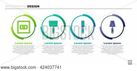Set Electrical Outlet, Putty Knife, Rasp Metal File And Trowel. Business Infographic Template. Vecto