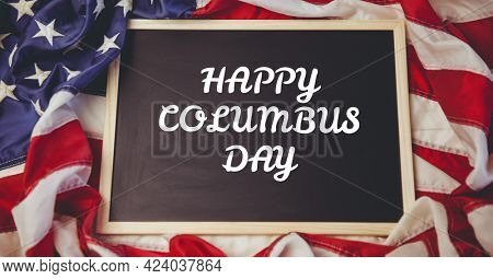 Happy columbus day text on wooden slate against american flag in background. columbus day template background design concept