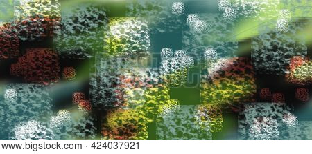 Abstract Green Background With White Square Sponge Footprints, Shadows And Backlighting. Abstract Ba