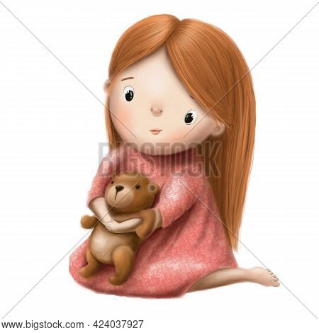 Cute Little Girl With Plush Bear Hand Drawn Clipart, Childrens Illustration With Funny Cartoon Chara