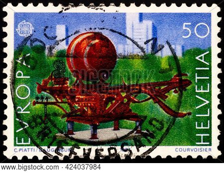 Moscow, Russia - June 14, 2021: Stamp Printed In Switzerland Shows Scarab Plastic From Bernhard Lugi