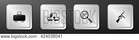Set Weapon Case, Collimator Sight, Pistol Gun Search And Tommy Icon. Silver Square Button. Vector