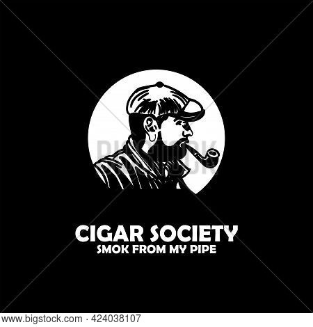 Cigar Society Design Logo Vector. People Man Smoker Portrait