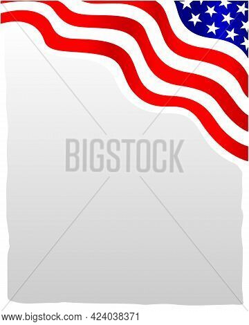 American Abstract Flag Corner Wave Pattern Border With An Empty Space For Text.