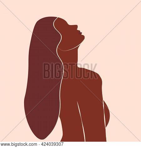 Abstract Minimal Portrait Of Girls. Woman Portraits. Beauty Logo. Concept Of Females. Feminine Power
